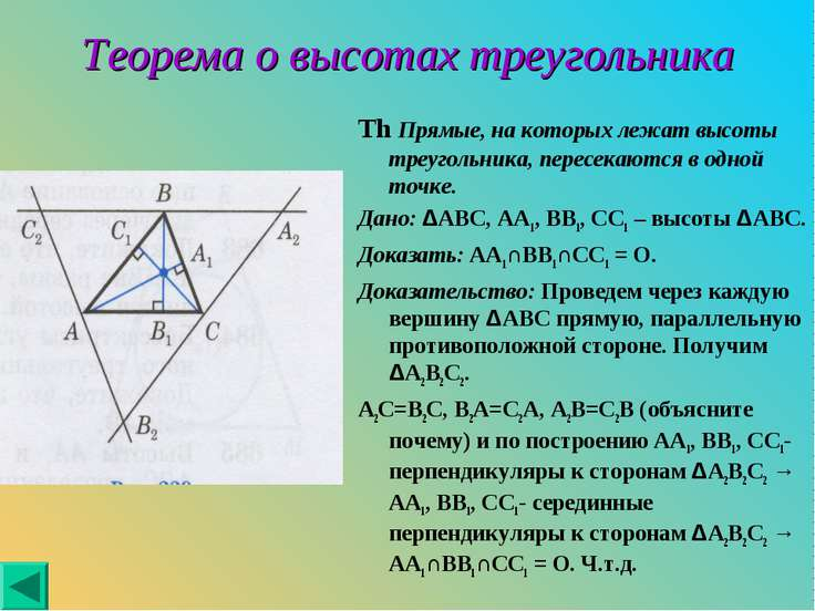 Теорема о высотах треугольника Th Прямые, на которых лежат высоты треугольник...