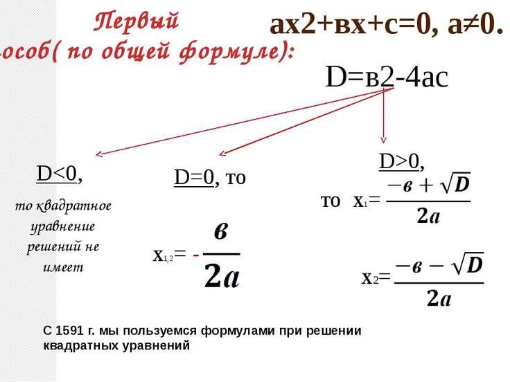 ах2+вх+с=0, а≠0. D=в2-4ас D0, то х1= х2= Первый способ( по общей формуле): С ...