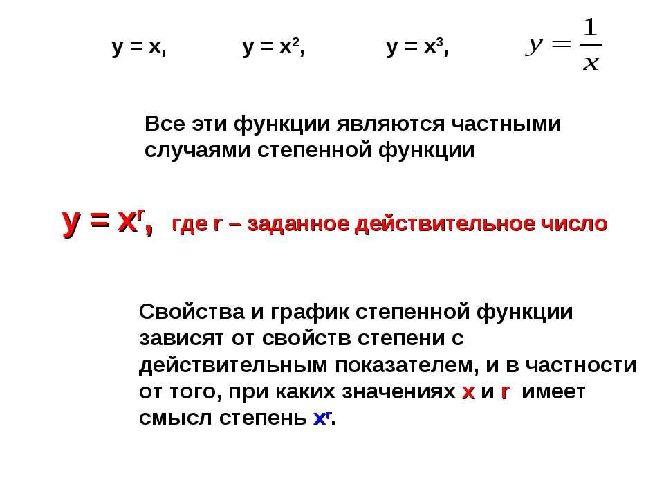 Все эти функции являются частными случаями степенной функции у = хr, где r – ...
