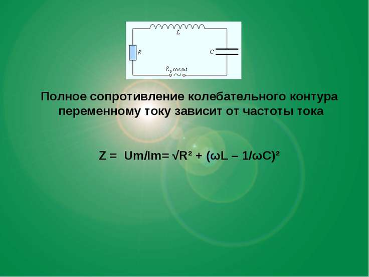 Полное сопротивление колебательного контура переменному току зависит от часто...