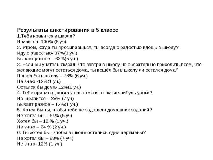 Результаты анкетирования в 5 классе 1.Тебе нравится в школе? Нравится- 100% (...