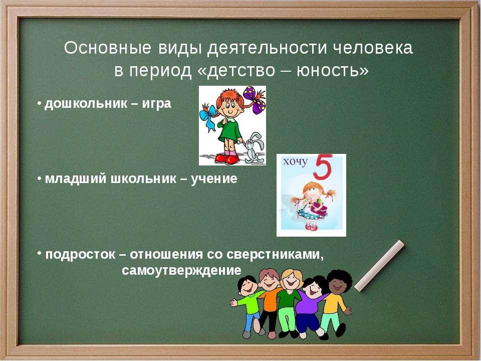 Основные виды деятельности человека в период «детство – юность» дошкольник – ...