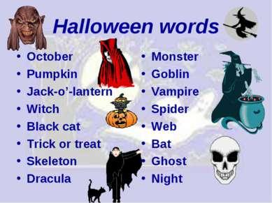 Halloween words October Pumpkin Jack-o'-lantern Witch Black cat Trick or trea...