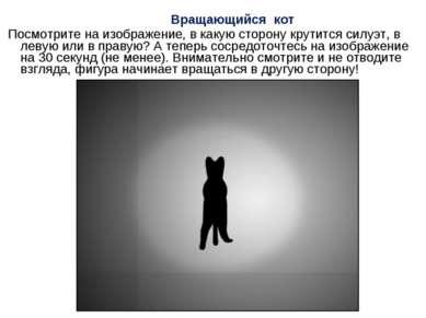 Вращающийся кот Посмотрите на изображение, в какую сторону крутится силуэт, в...