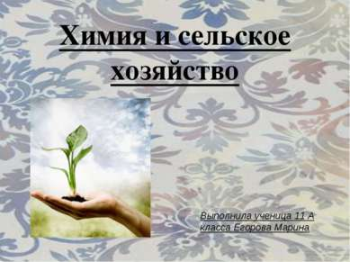 Химия и сельское хозяйство Выполнила ученица 11 А класса Егорова Марина