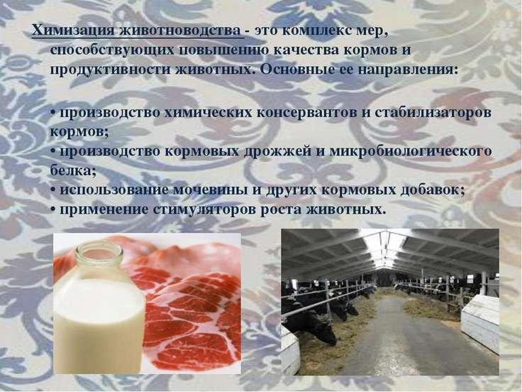 Химизация животноводства - это комплекс мер, способствующих повышению качеств...
