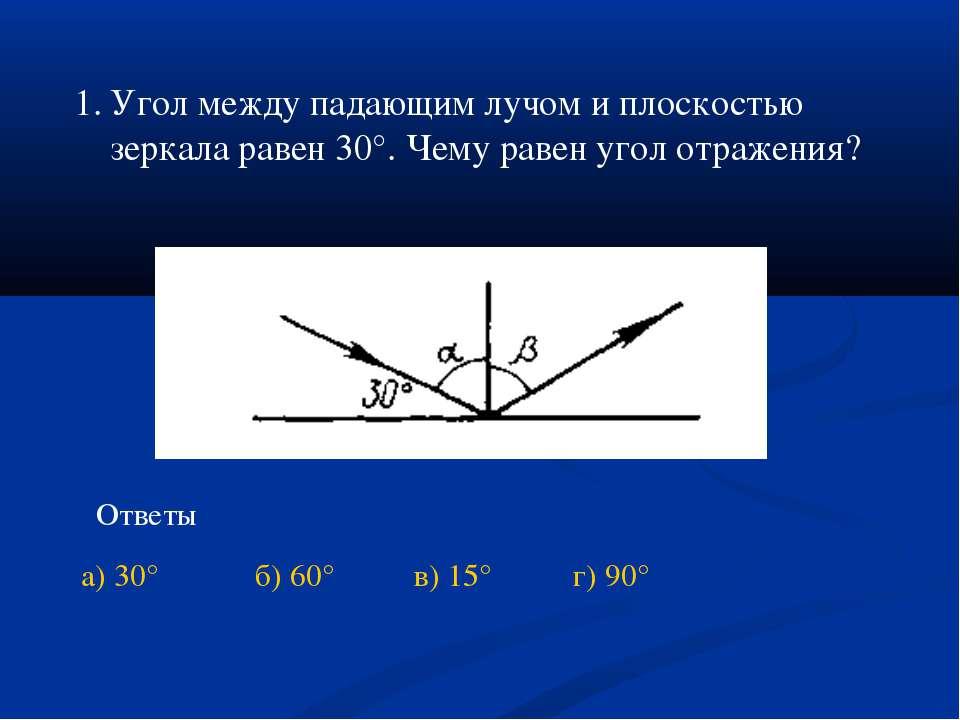 Угол между падающим лучом и плоскостью зеркала равен 30°. Чему равен угол отр...