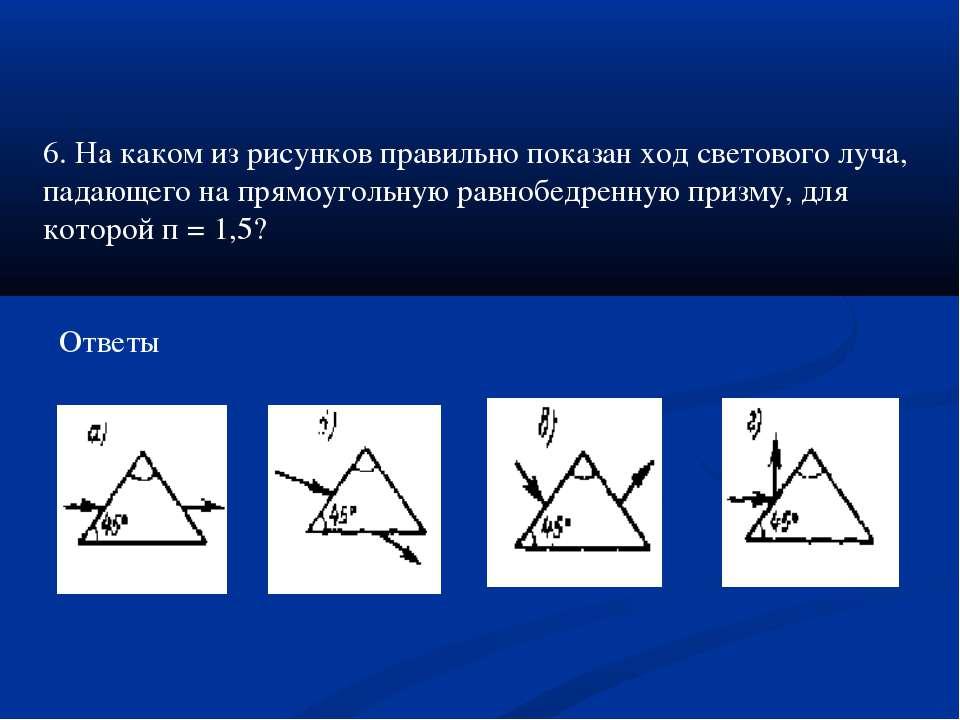 Ответы 6. На каком из рисунков правильно показан ход светового луча, падающег...