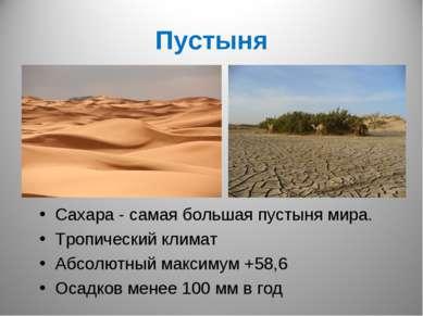 Пустыня Сахара - самая большая пустыня мира. Тропический климат Абсолютный ма...