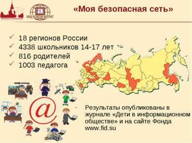«Моя безопасная сеть» 18 регионов России 4338 школьников 14-17 лет 816 родите...