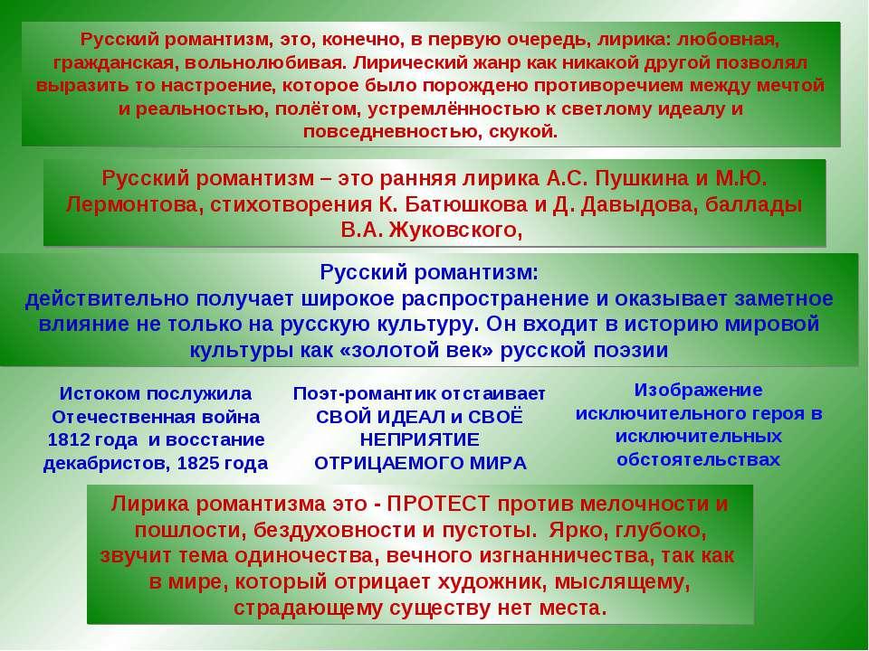 СВОЙ ИДЕАЛ и СВОЁ НЕПРИЯТИЕ ОТРИЦАЕМОГО МИРА Русский романтизм, это, конечно,...