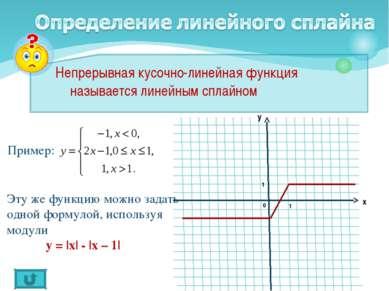Непрерывная кусочно-линейная функция называется линейным сплайном Пример: Эту...