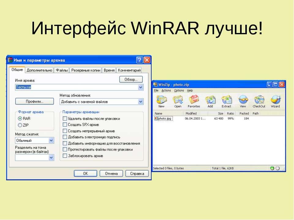 Интерфейс WinRAR лучше!