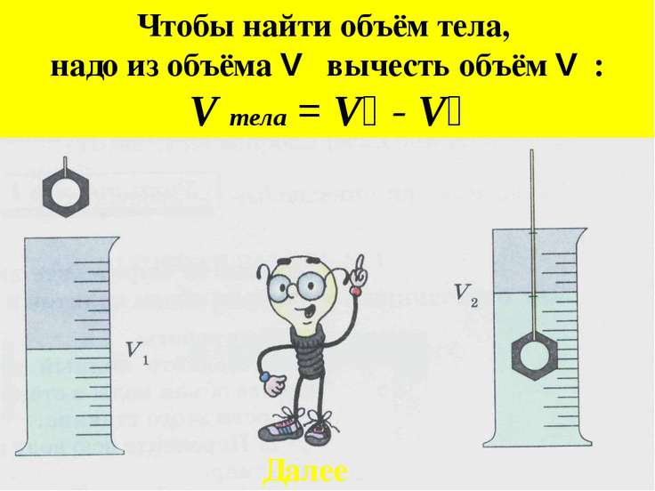 Чтобы найти объём тела, надо из объёма V₂ вычесть объём V₁: V тела = V₂ - V₁ ...