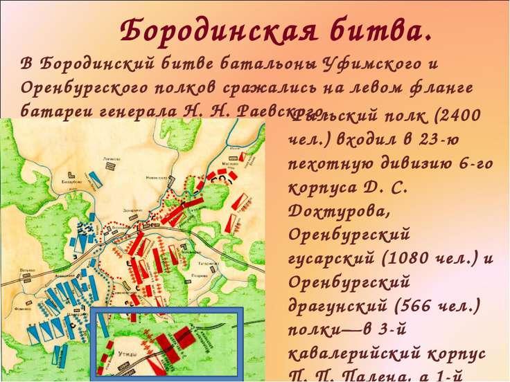 Бородинская битва. Рыльский полк (2400 чел.) входил в 23-ю пехотную дивизию 6...