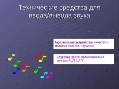 Технические средства для ввода/вывода звука Акустические устройства: микрофон...