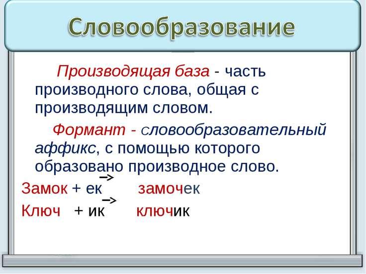 Производящая база - часть производного слова, общая с производящим словом. Фо...