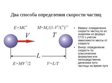 Два способа определения скорости частиц Вверху: определение скорости частиц п...