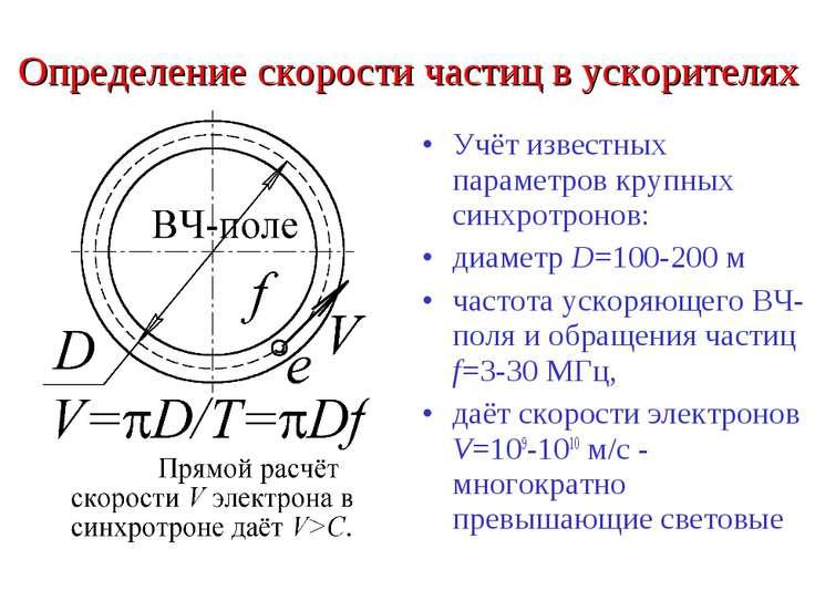 Определение скорости частиц в ускорителях Учёт известных параметров крупных с...