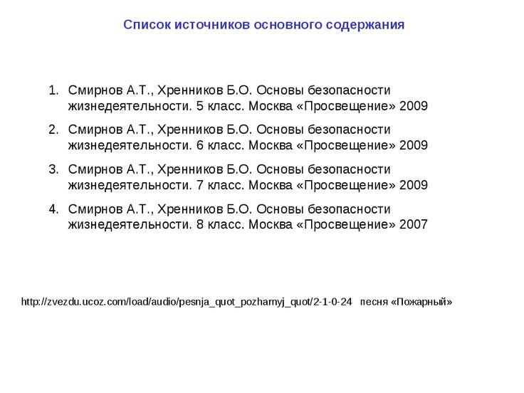 Список источников основного содержания http://zvezdu.ucoz.com/load/audio/pesn...