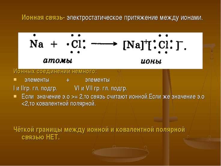 Ионная связь- электростатическое притяжение между ионами. Ионных соединений н...