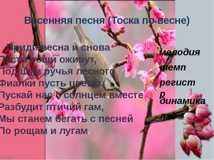 Весенняя песня (Тоска по весне) Приди весна и снова Пусть рощи оживут, Под шу...