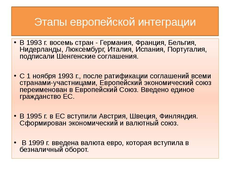 Этапы европейской интеграции В 1993 г. восемь стран - Германия, Франция, Бель...