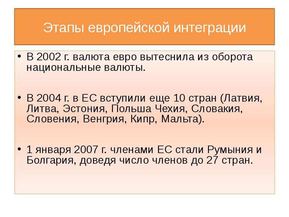 Этапы европейской интеграции В 2002 г. валюта евро вытеснила из оборота нацио...