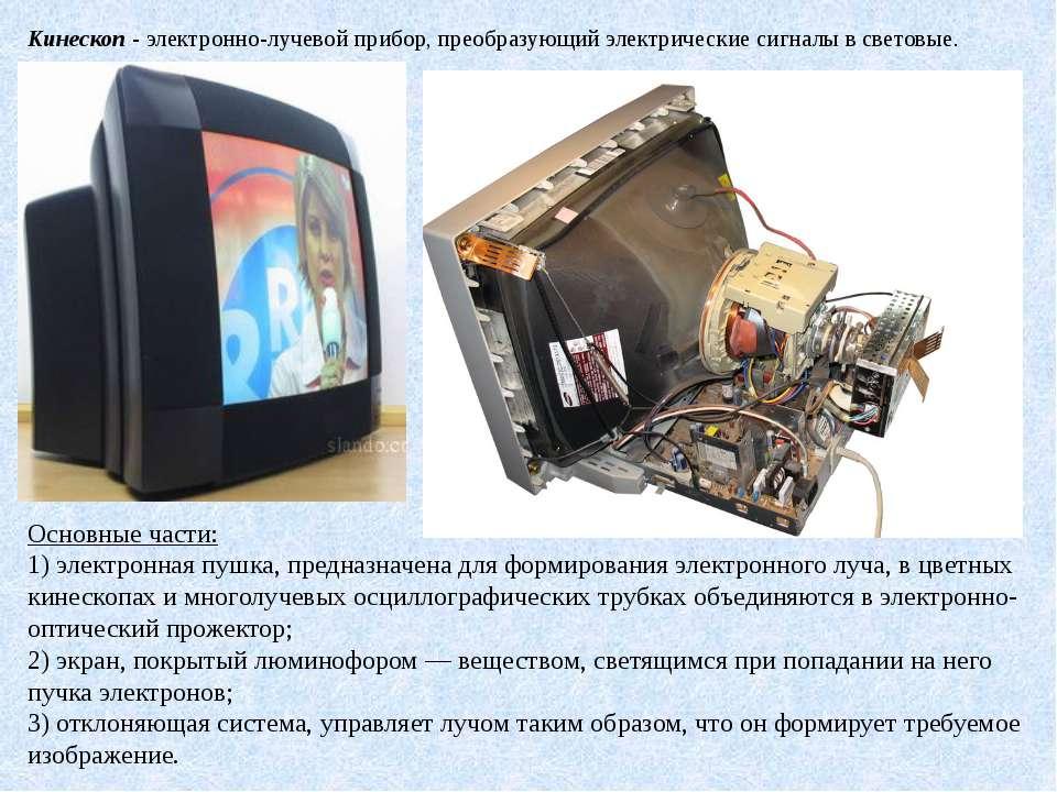 Кинескоп- электронно-лучевой прибор, преобразующий электрические сигналы в с...