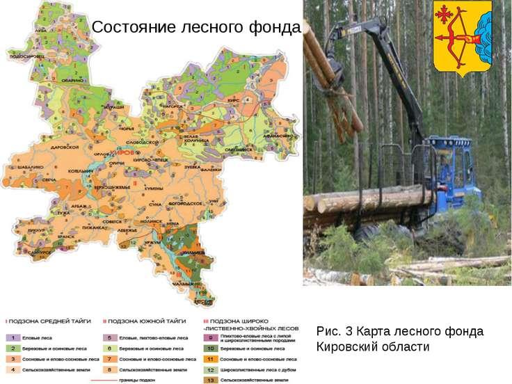 Состояние лесного фонда Рис. 3 Карта лесного фонда Кировский области