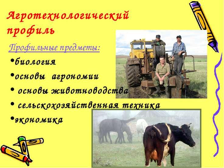 Агротехнологический профиль Профильные предметы: биология основы агрономии ос...