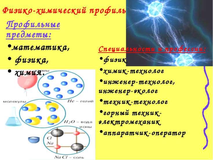 Физико-химический профиль Профильные предметы: математика, физика, химия. Спе...