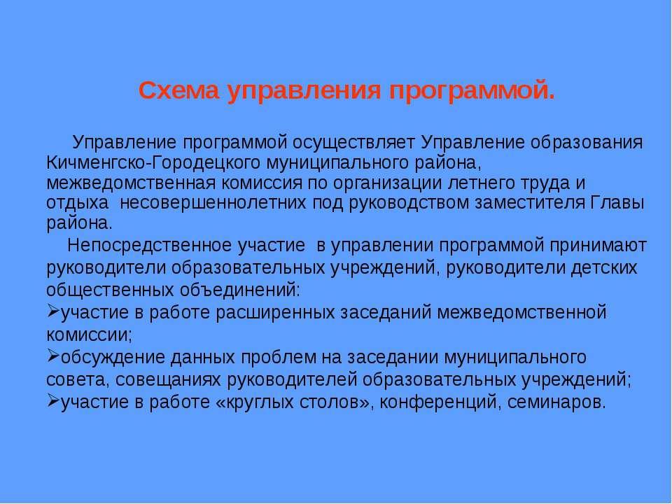 Схема управления программой. Управление программой осуществляет Управление об...