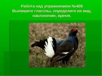 Работа над упражнением №405 Выпишите глаголы, определите их вид, наклонение, ...