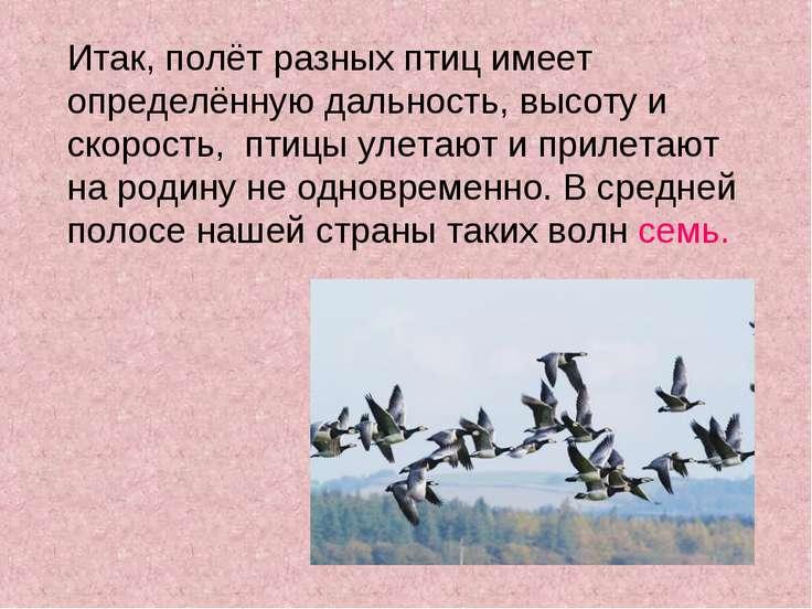 Итак, полёт разных птиц имеет определённую дальность, высоту и скорость, птиц...