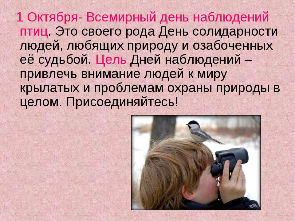 1 Октября- Всемирный день наблюдений птиц. Это своего рода День солидарности ...