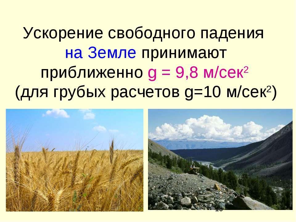 Ускорение свободного падения на Земле принимают приближенно g = 9,8 м/сек2 (д...