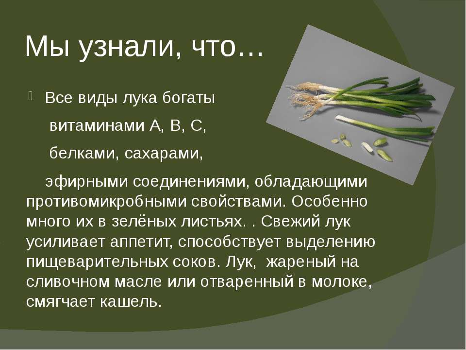 Мы узнали, что… Все виды лука богаты витаминами А, В, С, белками, сахарами, э...