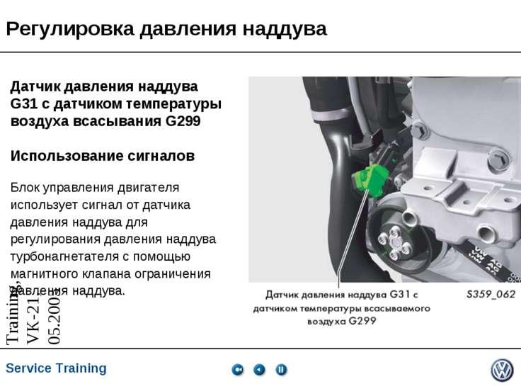 Регулировка давления наддува Датчик давления наддува G31 с датчиком температу...