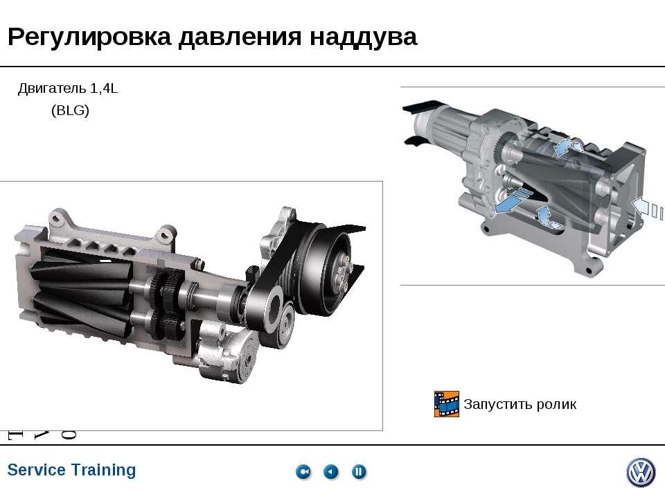 Регулировка давления наддува Двигатель 1,4L (BLG) Запустить ролик * * Service...