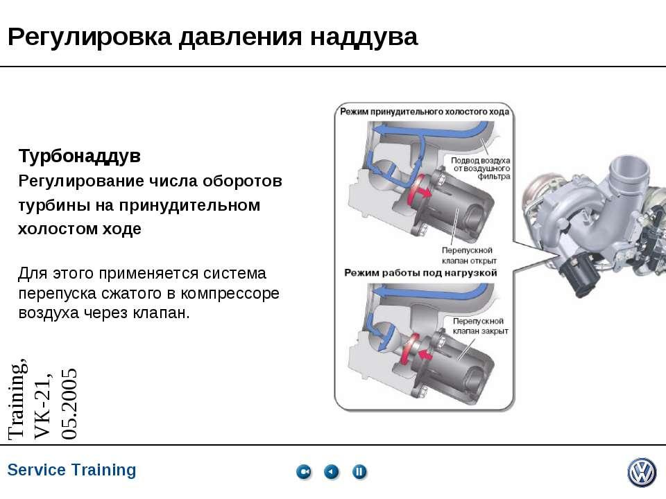 Регулировка давления наддува Турбонаддув Регулирование числа оборотов турбины...