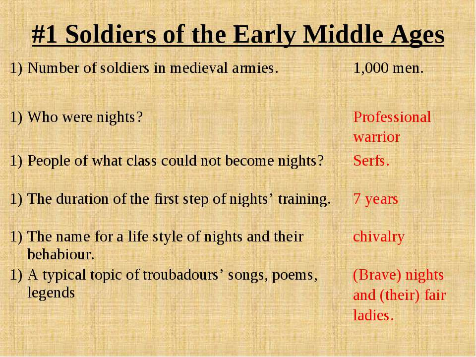 #1 Soldiers of the Early Middle Ages Number of soldiers in medieval armies. 1...