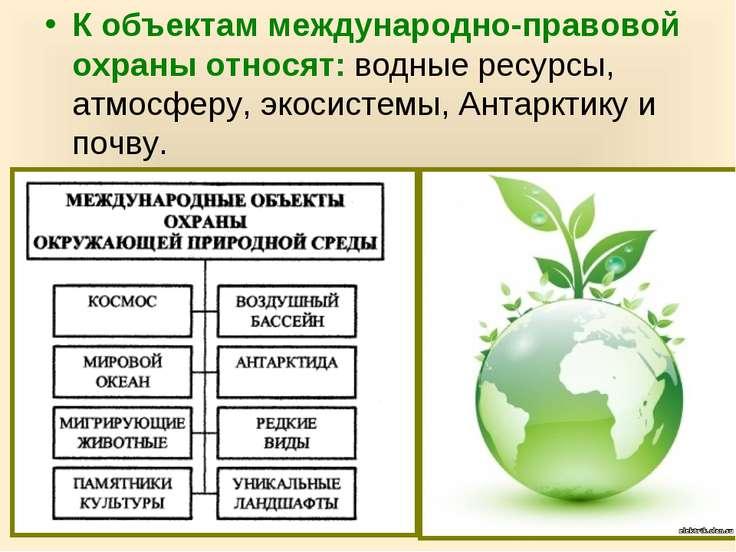 К объектам международно-правовой охраны относят: водные ресурсы, атмосферу, э...