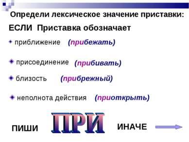 Определи лексическое значение приставки: ЕСЛИ Приставка обозначает присоедине...