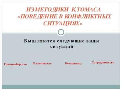 ИЗ МЕТОДИКИ К.ТОMACА «ПОВЕДЕНИЕ В КОНФЛИКТНЫХ СИТУАЦИЯХ»  Выделяются сл...