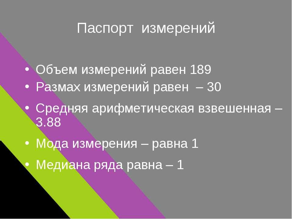 Паспорт измерений Объем измерений равен 189 Размах измерений равен – 30 Средн...