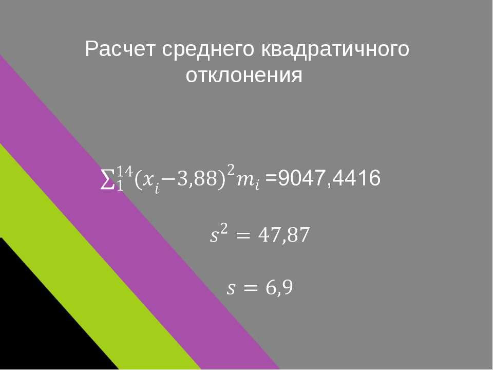Расчет среднего квадратичного отклонения
