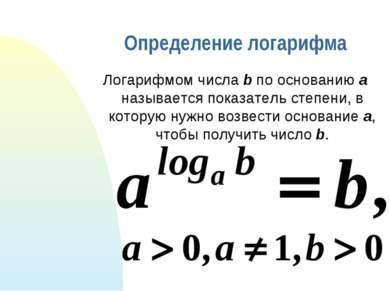 Определение логарифма Логарифмом числа b по основанию a называется показатель...