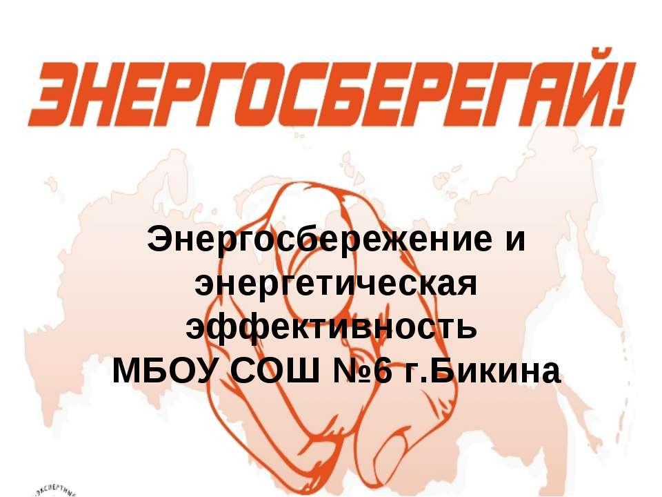 Энергосбережение и энергетическая эффективность МБОУ СОШ №6 г.Бикина