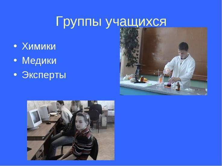 Группы учащихся Химики Медики Эксперты